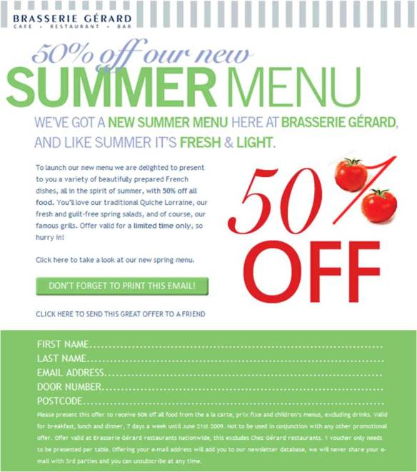 A 50% Discount on Brasserie Gerard's New Summer Menu