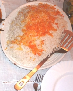 Traditional white Iranian style basmati rice, with saffron infused throughout, and usually eaten with butter and a little sumac