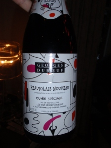 The Georges Dubeuf 2008 Beaujolais Nouveau (Cuvee Speciale) was light, fruity and highly quaffable, just as a good Nouveau should be - nice and light with the salad