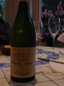 2007 Pouilly Fumé, Domaine del Bel Air (Mauroy Gauliez): sharp citrus flavor with good minerality and acidity, a good compiment to the chicken