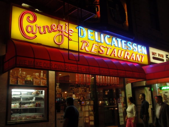 This is the facade of Carnegie Deli, one of the true NYC institutions, with sandwiches that will cause an on-the-spot heart attack (they have one called the 'heart attack sandwich). But even with their schtick of rude service, it is a damn good deli. Didn't get to go on this visit unfortunately
