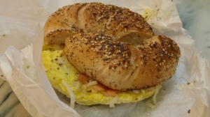 Makes me hungry - an everything bagel with egg, lox, onion & a schmear of plain cream cheese