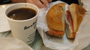 Mrs. LF's - an everything bagel with lox, plain cream cheese, onions & tomatoes + a black coffee