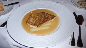Lightly Cooked: Black Bass – Crispy Black Bass; Celery & Parsnip Custard; Iberico Ham-Green Peppercorn Sauce