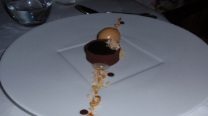 Dessert: Chocolate-Peanut – Dark Chocolate, Peanut and Caramel Tart; Meyer Lemon Puree, Peanut Powder, Praline-Citrus Sorbet
