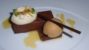"Dessert: Chocolate-Chicory – Chocolate Cremeux, Pain de Genes, Orange ""Meringue"", Chicory Ice Cream"
