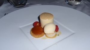 "Dessert: Apricot – Apricot Cream and Coulis Wrapped in White Chocolate; Vanilla Poached Apricot; ""Noyau"" Ice Cream"