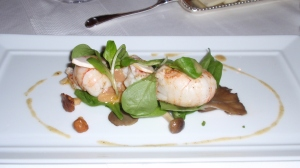 Barely Touched: Langoustine – Seared Langoustine, Mache, Wild Mushroom Salad, Shaved Foie Gras; White Balsamic Vinaigrette