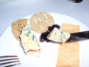 Barkham Blue with damson jam
