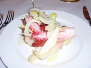 Mixed endive, shaved fennel & pear salad