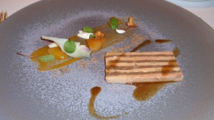 Course 3: Terrine of Foie Gras and Confit Duck with Apricots & Fresh Almonds