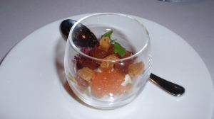 Amuse Bouche: Raw Tuna, Yogurt & Tomato 'Roe' – so clever!