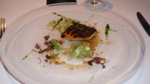 Course 1: Flame Grilled Mackerel with Cured Mackerel, Avocado and Shiso