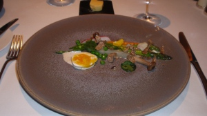 Course 2: Salad of Spring Vegetables with Parmesan Cream,  Walnut Oil and a Warm Pheasant's Egg