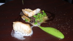 Course 4: Roast Monkfish with Peas, Morels & Marjoram
