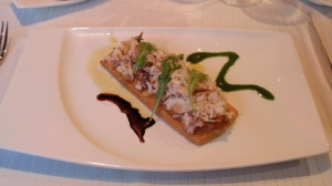 Crab salad on a sable biscuit