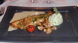 Main: Sole Normande with chanterelle mushrooms & potato
