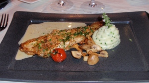 Main: Sole Normande with chanterelle mushrooms & potato