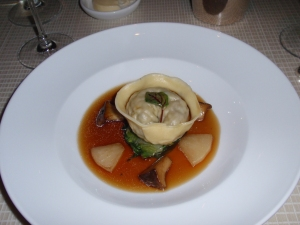 Tortellini of beef short rib, escarole, trompette royale and dashi