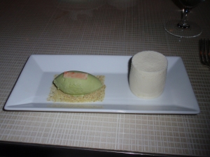 Lemon quark cheesecake with strawberry gelée and pistachio ice cream