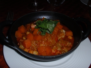 Main 3: Cod tagine with spiced chick peas, carrot and coriander