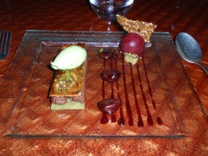 Dessert 1: Millefeuille of pistachio and chocolate with glazed cherries, sesame tuile