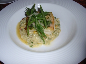 Main 1: Roasted Devon plaice with sweetcorn and girolle risotto, buttered runner beans