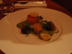 Starter 2: Ballottine of poached Scottish salmon, pickled mooli, watercress, spring vegetables, deep-fried quail's egg