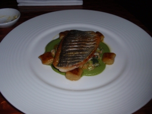 Main 2: Fillet of sea bream with gnocchi, warm crab and broccoli salad, shellfish butter
