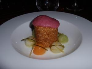 Dessert 2: Yoghurt parfait, melon salad, peach foam
