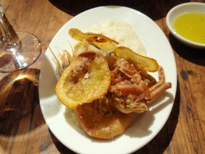 Fried eel, soft shell crab & red prawn with polenta & orange (small)