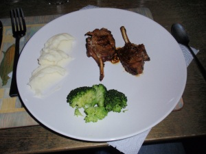 Course 5: Lamb Chops in 'Top Secret Marinade', Mashed Potatoes & Broccoli