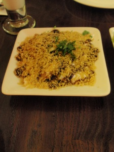 Papdi chaat: whole wheat crisps and bean sprouts with vermicelli, sweet yogurt & mint chutney