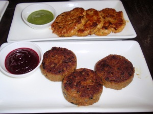 Lamb kebab (minced lamb kebab with mint, garlic & cardamom – served with beetroot chutney) & Chicken shammi (pan fried chicken cakes with brown onion & ginger – served with mint chutney)