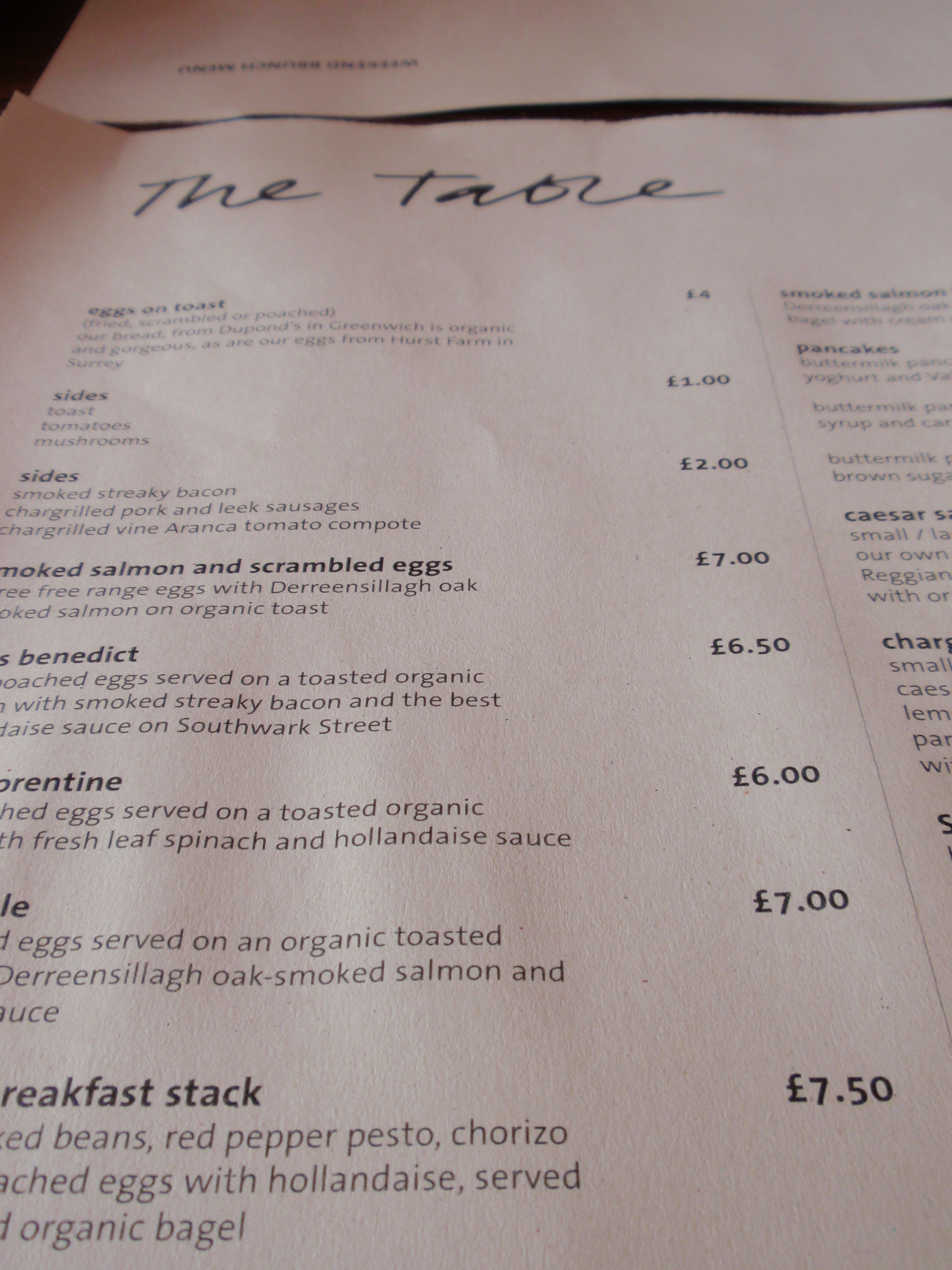 The table cafe a sensational brunch in southwark for Table cafe menu