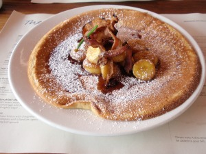 Buttermilk pancakes with streaky bacon, organic maple syrup and caramelized banana