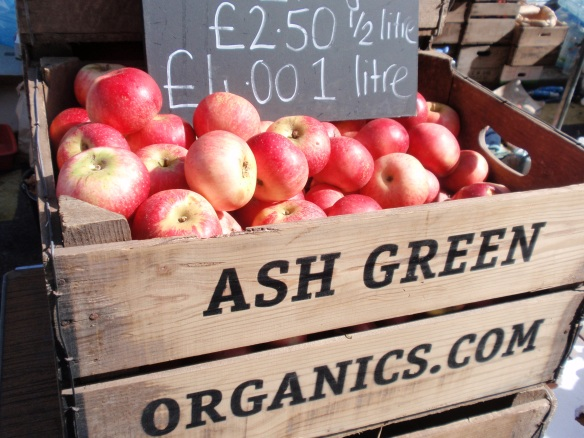 I just loved the way these crates full of red organic apples looked