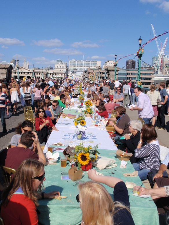This was the longest table I've ever seen! Amazing atmosphere on a sunny Saturday in London. What was really nice is that nothing looked cheap; even the chairs had an interesting design, and the whole thing was a much more polished affair than I've seen at other UK street fairs/markets. Well done to the organizers.