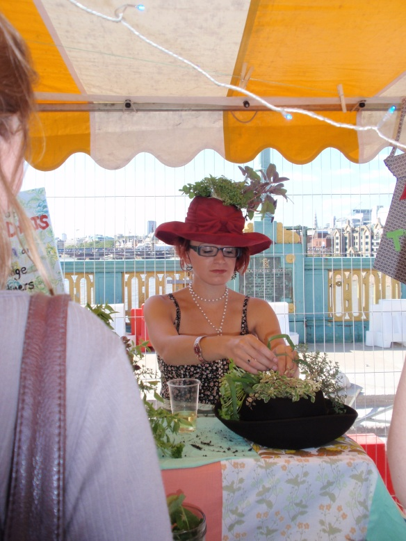 Another enthusiastic bestower of edible garden hats