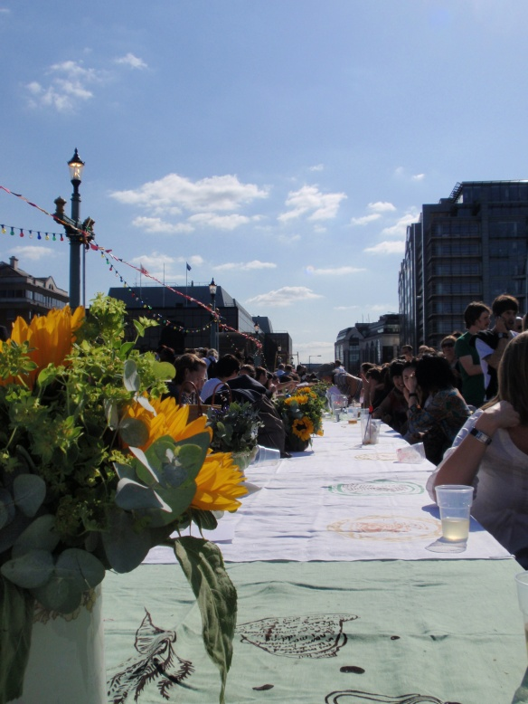 Another view of the extremely long table - looking back from the other end of the bridge...so cool!