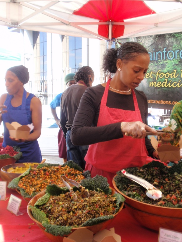 There was also some very colorful & tasty looking vegetarian organic food from some folks at a place called Rainforest Creations (http://www.rainforestcreations.co.uk)