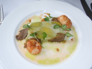 Starter 1: Pressed Leeks and Langoustines with a Truffle Vinaigrette
