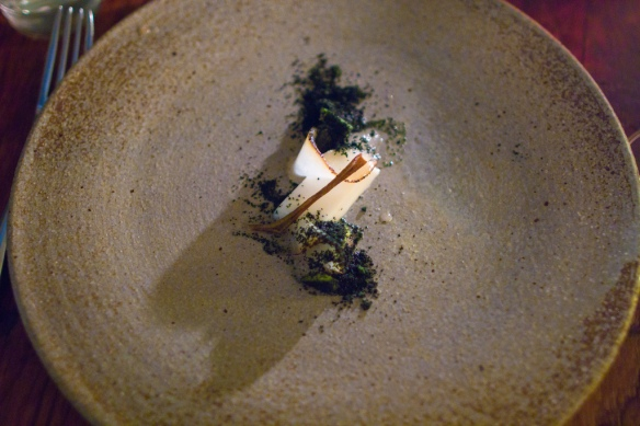 Goat Milk Custard, Seaweed Shortbread, Poached Pear, Allspice & Pear Skin at Frej