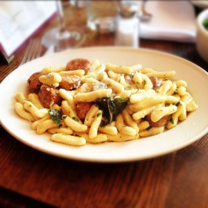 House-Made Cavatelli with Faiccos Hot Sausage & Browned Sage Butter at Frankies 457