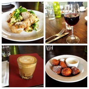 Rabbit Sausages, Juliénas, Cortado & Donuts at Reynards