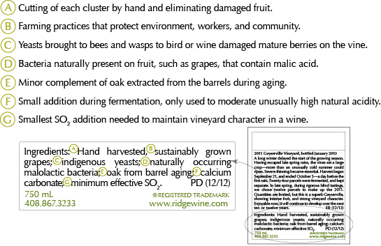 The influential California winery Ridge Vineyards has started to put detailed labels on its wines — is this a good thing?